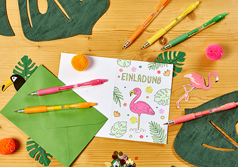 Flamingo-Einladungskarte im Neon-Look