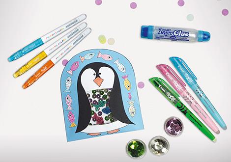 Weihnachtliche Pinguin-Schüttelkarte